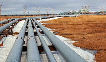Pipelines, powerlines, and processing facility in the Prudhoe Bay Oilfield. Photo by Martha K. Raynolds, June 2014.